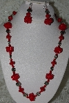 "+MBAHB #27-264  ""One Of A Kind Red Bead & German Silver Flower Bead Necklace & Earring Set"""