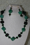 "+MBAHB #27-259  ""One Of A King Black Crystal,Green Gemstone & Hand Made Bead Necklace & Earring Set"""