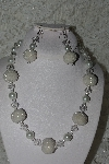 "+MBAHB #27-254  ""One Of A Kind White Glass Pearl. Clear Crystal & Seed Bead Cluster Necklace & Earring Set"""
