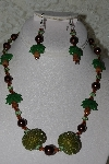 "+MBAHB #27-249  ""One Of A Kind Art Glass Palm Trees,Brown Glass Pearls,Green Crystal & Green Seed Bead Cluster Necklace & Matching Earring Set"""