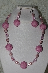 "+MBAHB #27-244  ""One Of A Kind Pink Glass Pearl,Pink Crystal & Pink Seed Bead Cluster Necklace & Earring Set"""