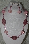 "+MBAHB #27-234  ""One Of A Kind Pink Glass Pearl,Pink Crystal, Pink Rhodonite Gemstone & Pink Glass Seed Bead Cluster Necklace & Earring Set"""