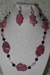 "MBAHB #27-229  ""One Of A Kind Pink Rhodonite, Black Onyx & Faceted Pink Crystal Bead Necklace & Earring Set"""