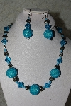 "+MBAHB #27-212  ""One Of A Kind German Silver Flowers,Blue Crystal & Seed Bead Cluster Necklace & Earring Set"""