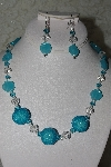 "+MBAHB #27-207  ""One Of A Kind Fancy Blue Glass Flower, Clear Crystal, Blue Crystal & Blue Seed Bead Cluster Bead Necklace & Earring Set"""