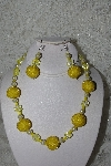 "+MBAHB #27-002  ""One Of A Kind Yellow Glass Bead Necklace"""