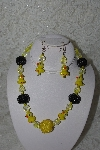 "+MBAHB #27-009  ""Fancy Yellow Glass, Glass Ducks & Yellow & Black Bead Necklace & Earring Set"""
