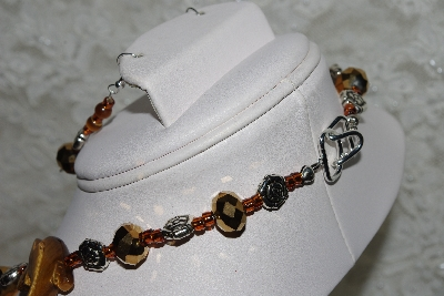 "MBAHB #27-018  ""One Of A Kind Tiger Eye, Copper Crystal & German Silver Flower Bead Necklace & Earring Set"""