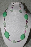 "MBAHB #27-027  ""One Of A Kind Green & Pink Crystal, Glass & Gemstone Bead Necklace"""