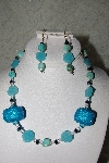 "+MBAHB #27-046  ""One Of A Kind Blue Bead, Crystal & Turquoise Necklace & Earring Set"""