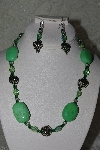 "MBAHB #27-065  ""One Of A Kind Green Bead,Gemstone & German Silver Rose Bead Necklace & Earring Set"""
