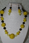"+MBAHB #27-085  ""One Of A Kind Yellow & Black Duck Bead Necklace & Earring Set"""