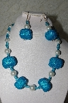 "+MBAHB #27-095  ""One Of A Kind Blue & White Bead Necklace & Earring Set"""