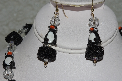 "MBAHB #27-101  ""One Of A Kind Black & Clear Penguin Bead Necklace & Earring Set"""