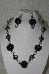 "+MBAHB #27-105  ""One Of A Kind Crystal,Silver & Black Bead Necklace & Earring Set"""