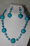 "+MBAHB #27-111  ""One Of A Kind Blue Glass Bead Necklace & Earring Set"""