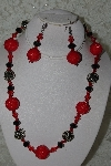 "+MBAHB #27-116  ""One Of A Kind Red & Black Bead Necklace & Earring Set"""