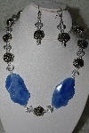 "MBAHB #27-121  ""One Of A Kind Blue Gemstone,Crystal & Silver Bead Necklace & Earring Set"""