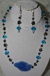 "MBAHB #27-126  ""One Of A Kind Crystal,Silver Bead & Blue Gemstone Necklace & Earring Set"""
