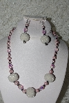 "+MBAHB #27-131  ""One Of A Kind Pink & White Bead Necklace & Earring Set"""