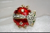 Large Lady Bug Crystal and Enameled Pin
