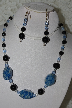"MBAHB #27-141  ""One Of A Kind Lapis & Glass Bead Necklace & Earring Set"""