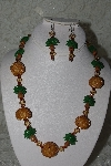 "+MBAHB #27-146  ""One Of A Kind Gold Bead Palm Tree Necklace & Earring Set"""