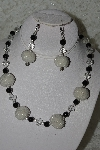"+MBAHB #27-167  ""One Of A Kind White & Black Bead Necklace & Earring Set"""
