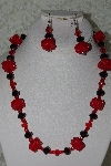 "+MBAHB #27-177  ""Black & Red Crystal Bead Necklace & Earring Set"""
