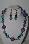 "+MBAHB #003-017  ""One Of A Kind Purple Bead & Turquoise Neklace & Earring Set"""