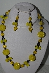 "+MBAHB #003-022  ""One Of A Kind Yellow Glass Bead Bee Necklace & Earring Set"""