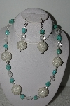 "+MBAHB #003-028  ""One Of A Kind Glass Bead,Turquoise & Crystal Quartz Bead Necklace & Earring Set"""