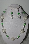 "+MBAHB #003-033  ""One Of A Kind Green Glass & Crystal Quartz Necklace & Earring Set"""