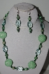 "+MBAHB #003-043  ""One Of A Kind Green Glass & Gemstone Bead Necklace & Earring Set"""
