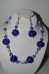 "+MBAHB #003-048  ""One Of A Kind Blue Bead & Glass Pearl Necklace & Earring Set"""