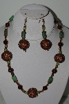 "+MBAHB #003-053  ""One Of A Kind Brown Bead & Green Gemstone Necklace & Earring Set"""
