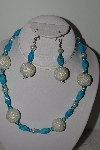 "+MBAHB #003-068  ""One Of A Kind Turquoise & Glass Bead Necklace & Earring Set"""