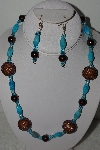 "+MBAHB #003-073  ""One Of A Kind Turquoise & Brown Bead Necklace & Earring Set"""