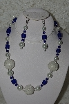 "+MBAHB #003-126  ""One Of A Kind Blue & White Bead Necklace & Earring Set"""