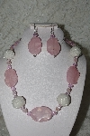 "+MBAHB #003-131  ""One Of A Kind Pink,White Bead & Rose Quartz Necklace & Earring Set"""