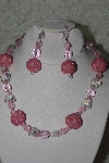 "+MBAHB #003-141  ""One Of A Kind PInk Glass & Crystal Butterfly Necklace & Earring Set"""