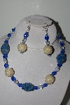 "+MBAHB #003-156  ""One Of A Kind Blue, Crystal Quartz & Lapis Necklace & Earring Set"""