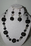 "+MBAHB #003-161  ""One Of A Kind Black Bead & Crystal Butterfly Necklace & Earring Set"""