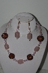 "+MBAHB #003-166  ""One Of A Kind Brown, Pink & Rose Quartz Necklace & Earring Set"""