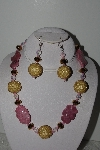 "+MBAHB #003-172  ""One Of A Kind Gold,Pink,Crystal & Rhodocrosite Bead Necklace & Earring Set"""
