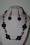 "+MBAHB #003-177  ""One Of A Kind Black & Pink Rhodocrosite Bead Necklace & Earring Set"""