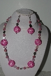 "+MBAHB #003-182  ""One Of A Kind Pink Bead & Gemstone Necklace & Earring Set"""