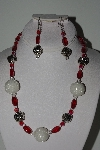 "+MBAHB #003-187  ""One Of A Kind White & Red Bead Necklace & Earring Set"""