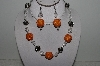 "+MBAHB #003-255  ""One Of A Kind Orange, Crystal & German Silver Necklace & Earring Set"""