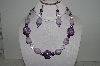 "+MBAHB #003-244  ""One Of A Kind Purple Howlite & Crystal Quartz Necklace & Earring Set"""